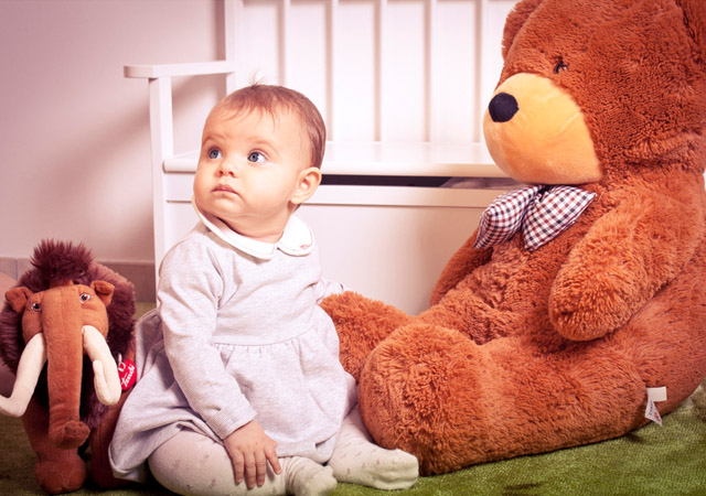 baby and teddy by Walter Kovacs