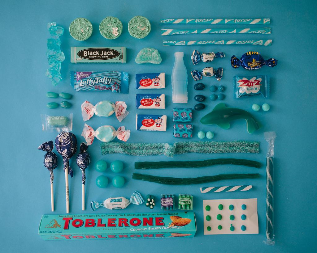 Colorful photographs of sugar candies