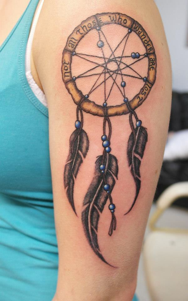 50 Beautiful Dream catcher Tattoo for Women (21)