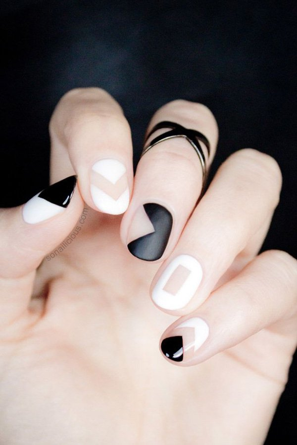 55 creative black and white nail art examples (16)