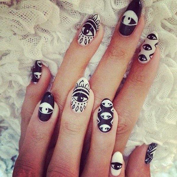 55 creative black and white nail art examples (32)