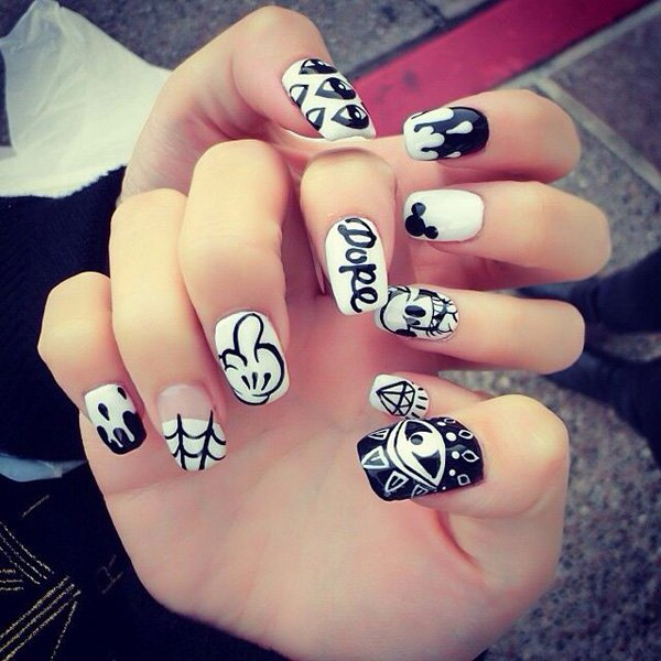 55 creative black and white nail art examples (34)