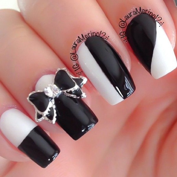 55 creative black and white nail art examples (35)