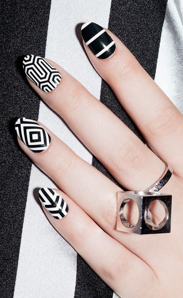 55 creative black and white nail art examples (4)