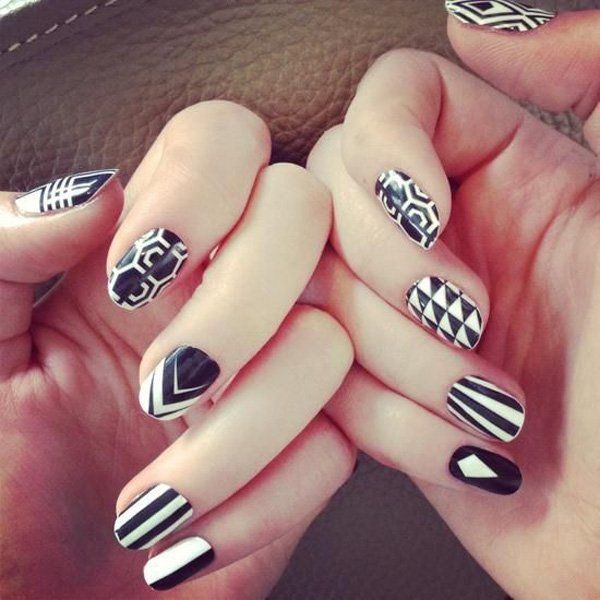 55 creative black and white nail art examples (41)