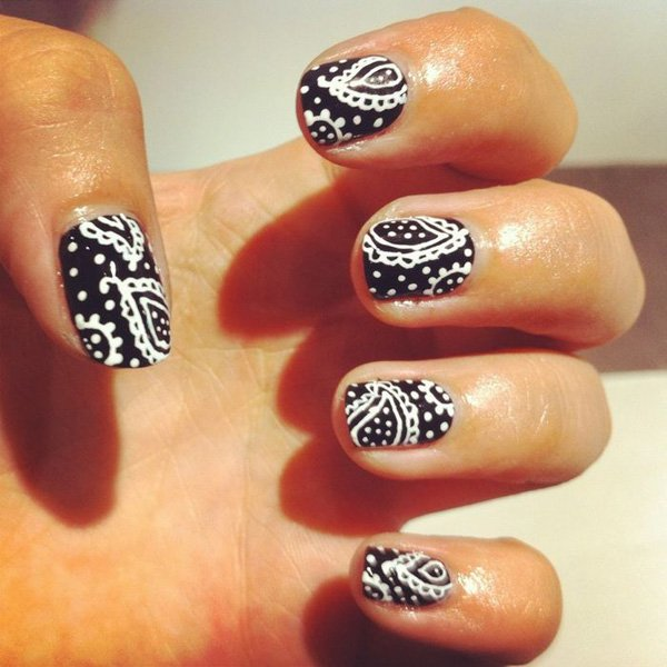 55 creative black and white nail art examples (46)