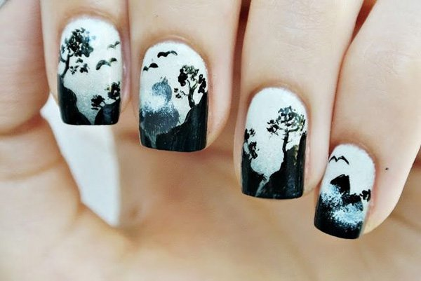 55 creative black and white nail art examples (50)