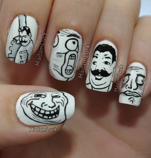 55 creative black and white nail art examples (51)