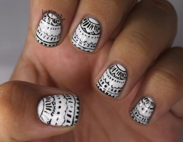 55 creative black and white nail art examples (9)