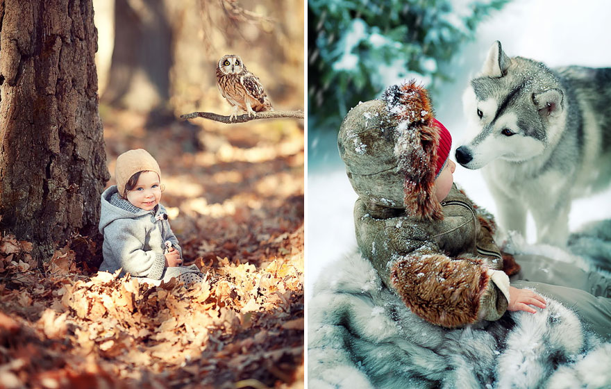 Adorable Photos Of Animals And Kids Playing In Snow  (10)