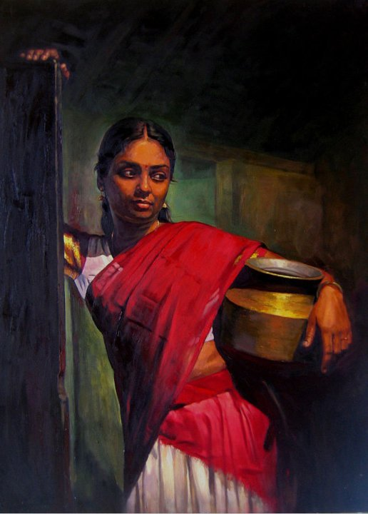 25 Beautiful South Indian Women Paintings by ilayaraja (1)