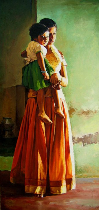 25 Beautiful South Indian Women Paintings by ilayaraja (10)