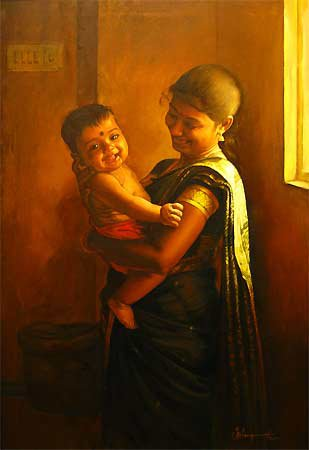 25 Beautiful South Indian Women Paintings by ilayaraja (11)