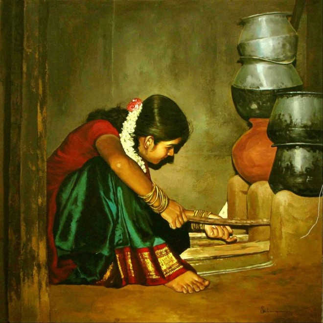 25 Beautiful South Indian Women Paintings by ilayaraja (12)