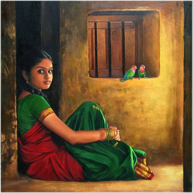 25 Beautiful South Indian Women Paintings by ilayaraja (13)