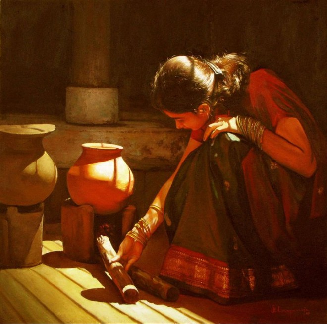 25 Beautiful South Indian Women Paintings by ilayaraja (14)