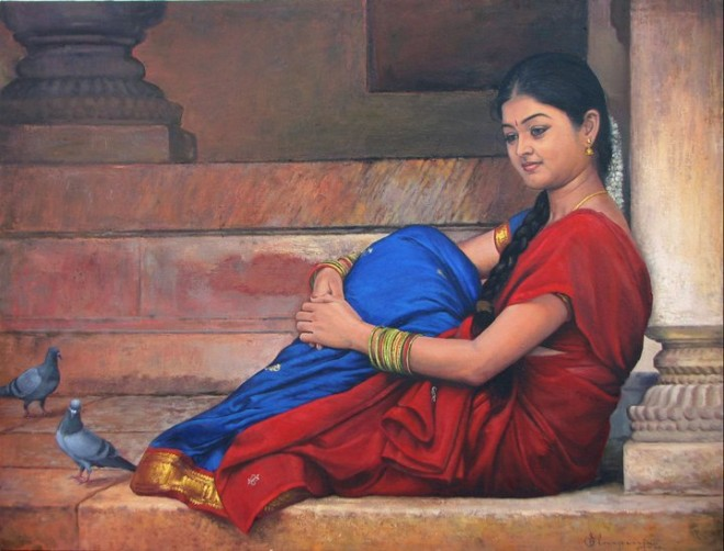 25 Beautiful South Indian Women Paintings by ilayaraja (15)