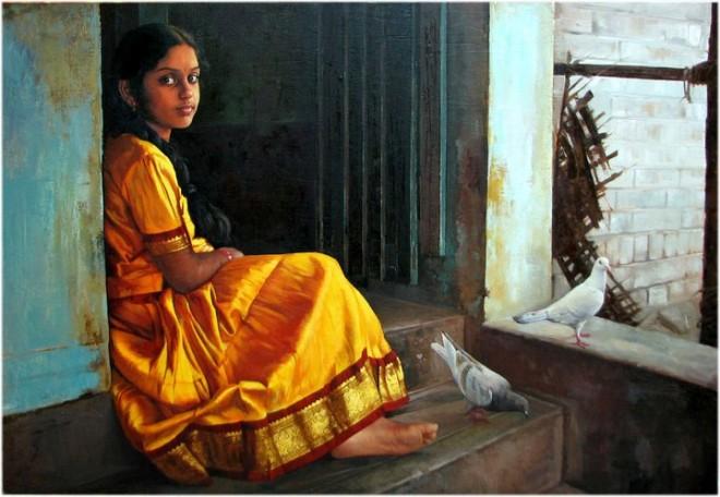 25 Beautiful South Indian Women Paintings by ilayaraja (17)