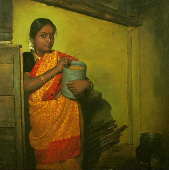 25 Beautiful South Indian Women Paintings by ilayaraja (18)