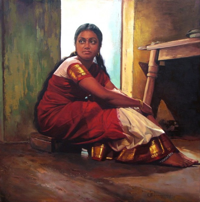 25 Beautiful South Indian Women Paintings by ilayaraja (19)