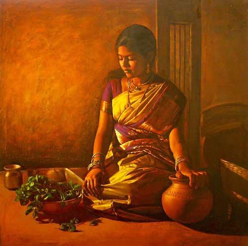 25 Beautiful South Indian Women Paintings by ilayaraja (2)