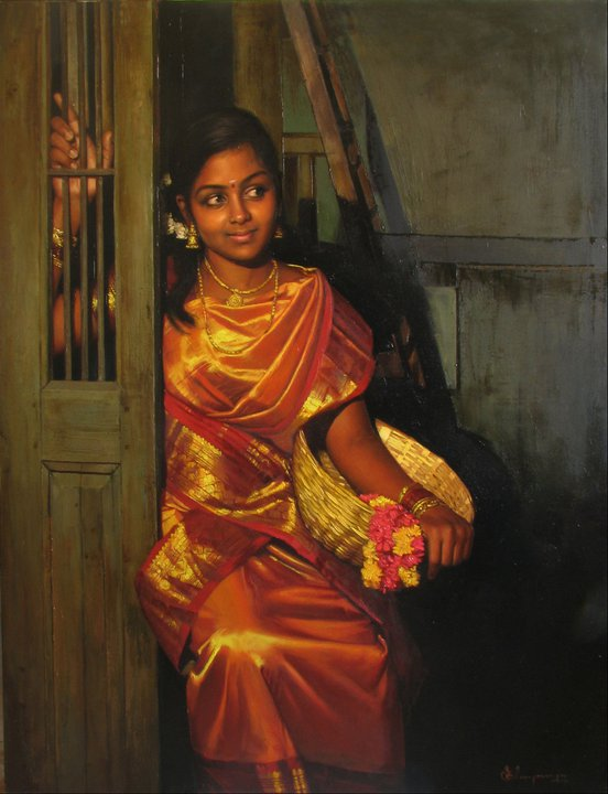 25 Beautiful South Indian Women Paintings by ilayaraja (20)
