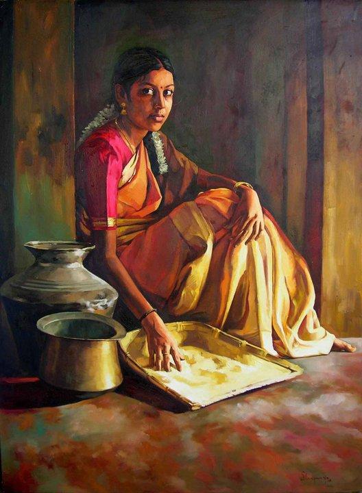 25 Beautiful South Indian Women Paintings by ilayaraja (21)
