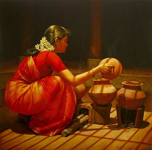 25 Beautiful South Indian Women Paintings by ilayaraja (3)