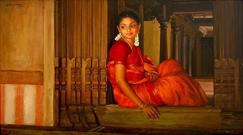 25 Beautiful South Indian Women Paintings by ilayaraja (5)