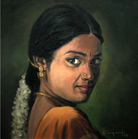 25 Beautiful South Indian Women Paintings by ilayaraja (8)
