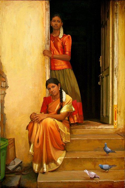 25 Beautiful South Indian Women Paintings by ilayaraja (9)