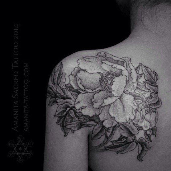 45 Most beautiful Peony tattoo Designs (10)