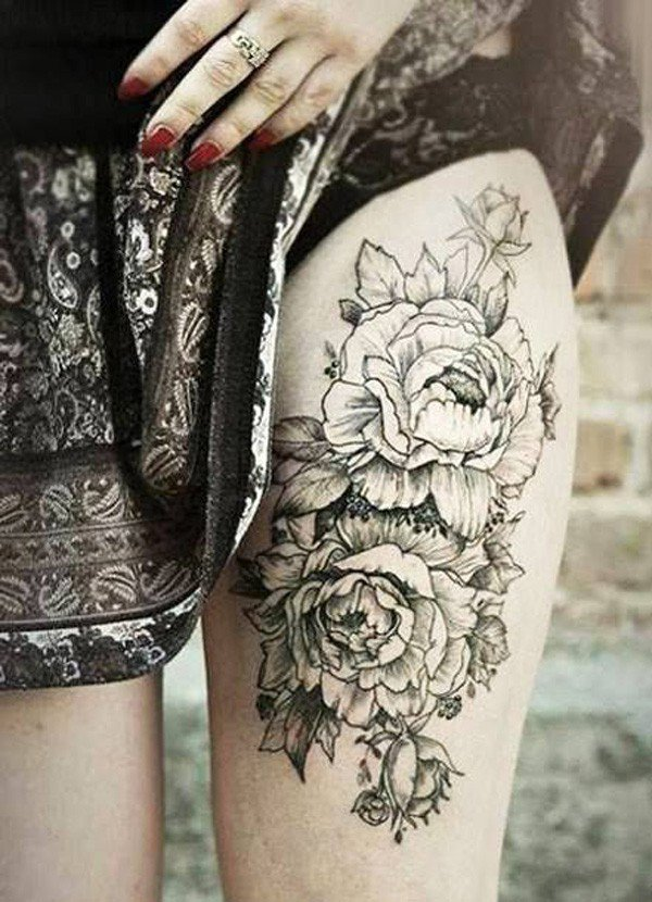 45 Most beautiful Peony tattoo Designs (19)