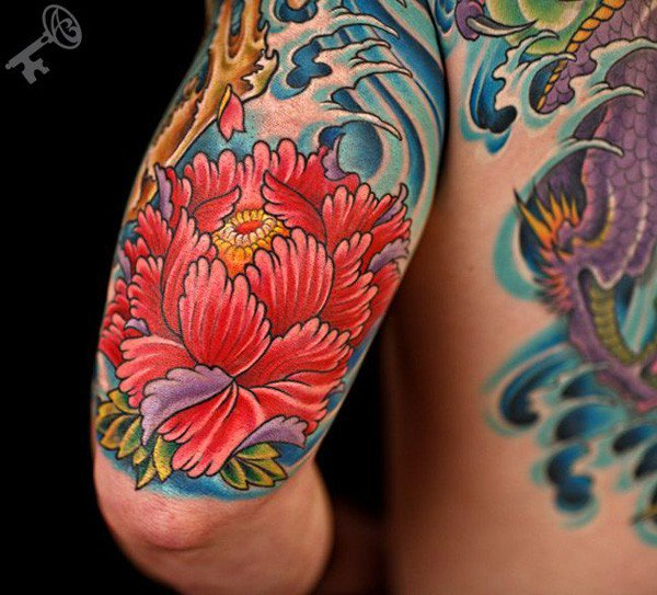 45 Most beautiful Peony tattoo Designs (2)