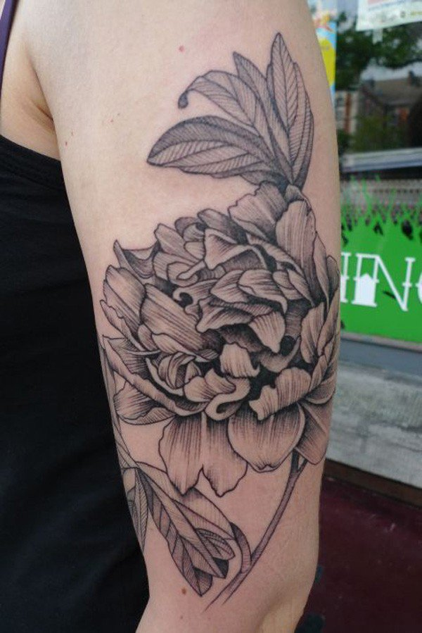 45 Most beautiful Peony tattoo Designs (23)
