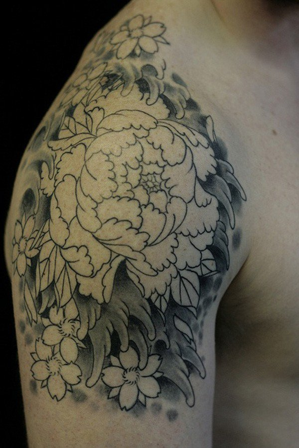 45 Most beautiful Peony tattoo Designs (24)