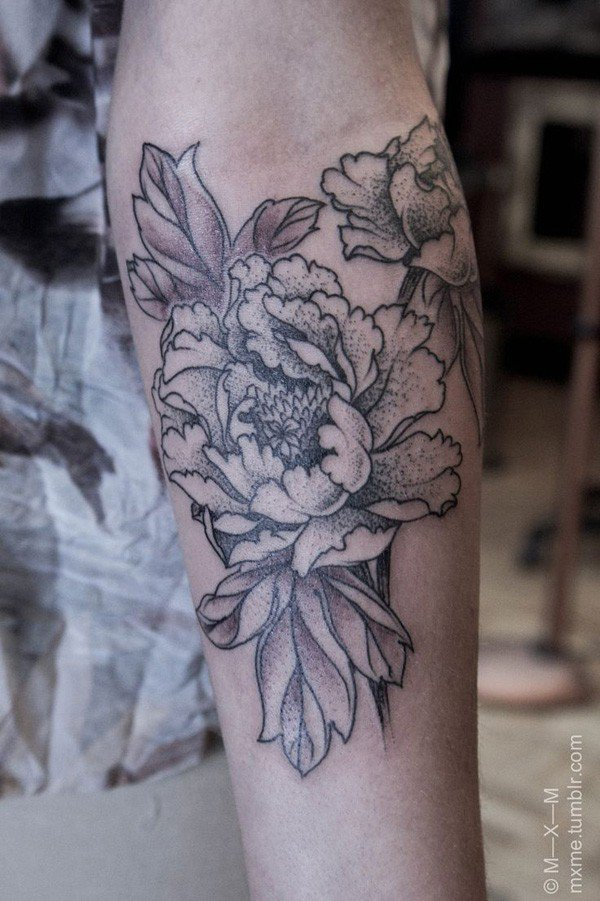 45 Most beautiful Peony tattoo Designs (32)