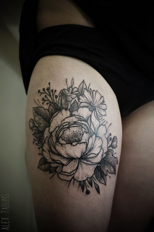 45 Most beautiful Peony tattoo Designs (33)