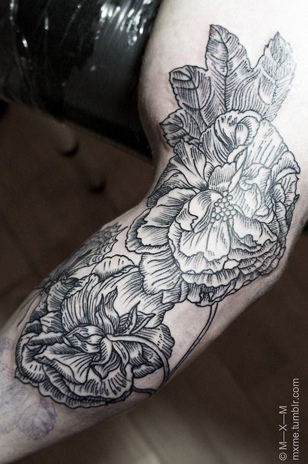 45 Most beautiful Peony tattoo Designs (34)