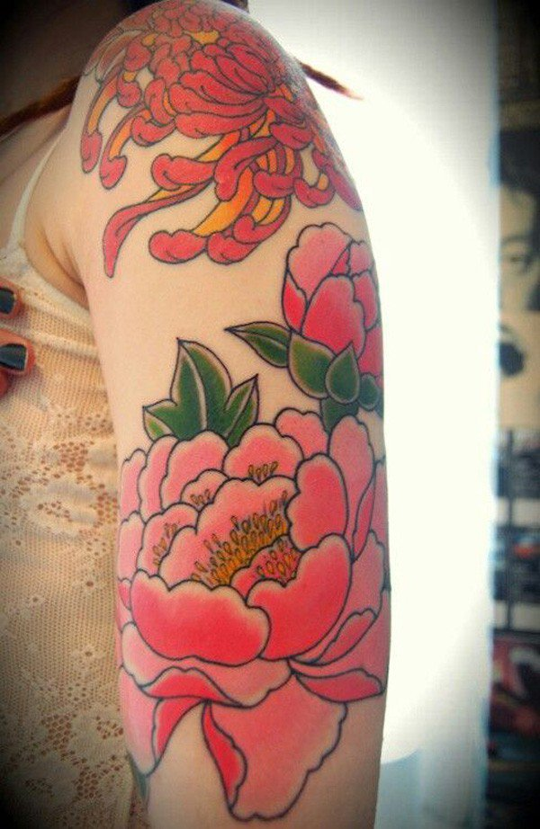 45 Most beautiful Peony tattoo Designs (37)