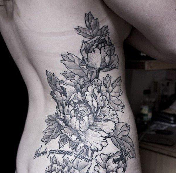 45 Most beautiful Peony tattoo Designs (4)