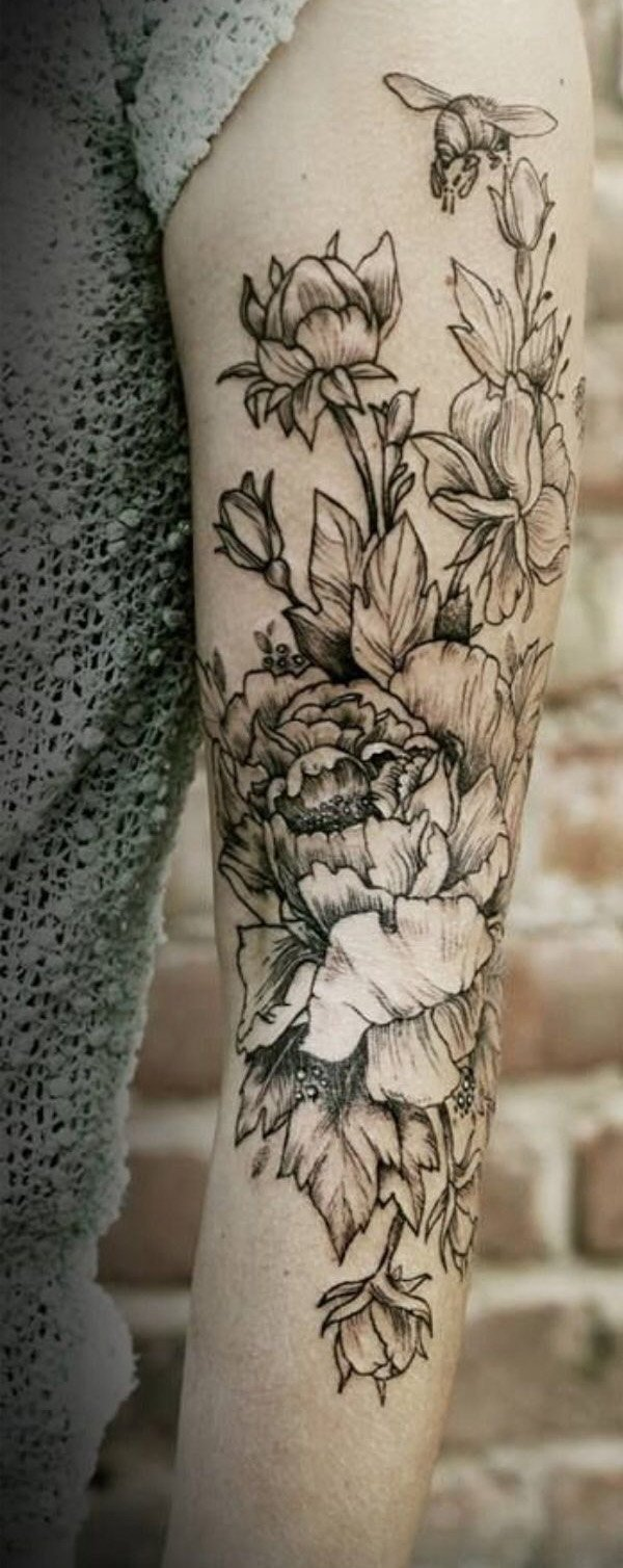 45 Most beautiful Peony tattoo Designs (41)
