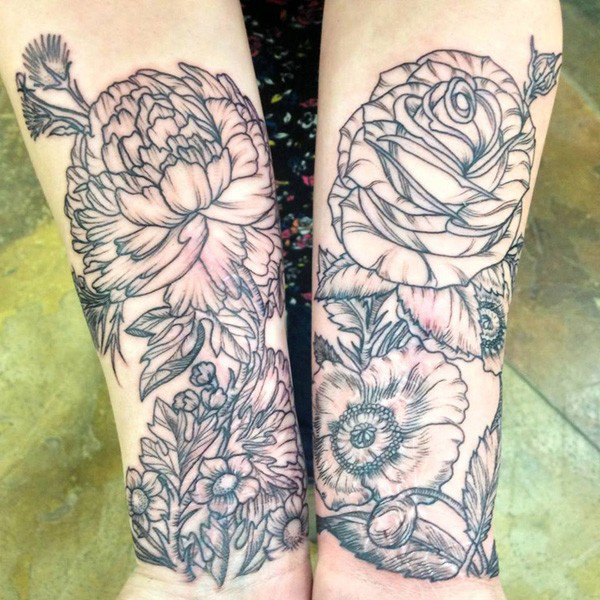 45 Most beautiful Peony tattoo Designs (7)