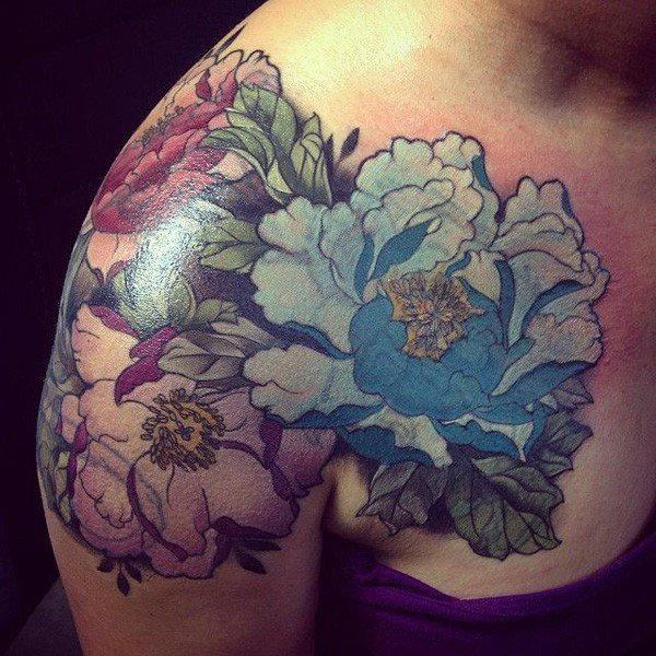 45 Most beautiful Peony tattoo Designs (9)