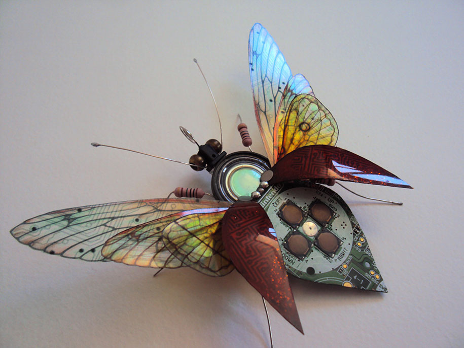 Winged crawly Designs From Old PC Parts And Gadgets Buzz by  Julie Alice Chappell (10)