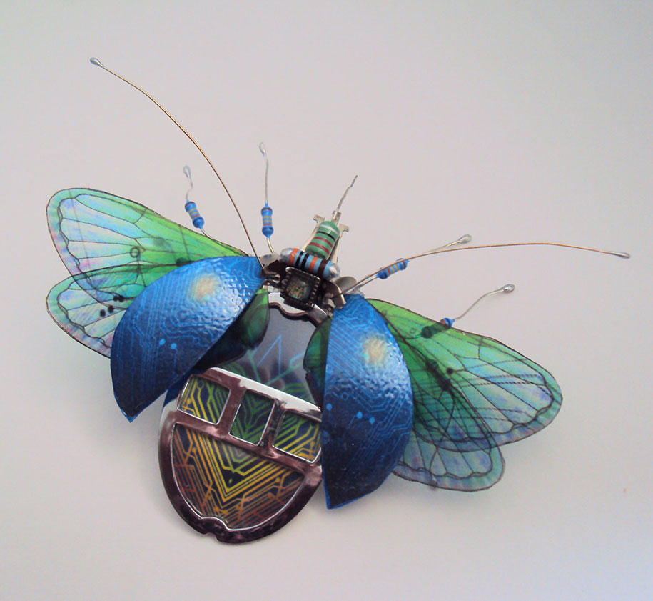 Winged crawly Designs From Old PC Parts And Gadgets Buzz by  Julie Alice Chappell (6)