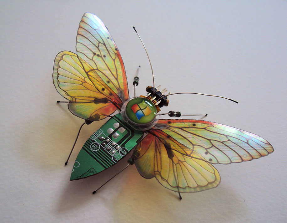 Winged crawly Designs From Old PC Parts And Gadgets Buzz by  Julie Alice Chappell (8)
