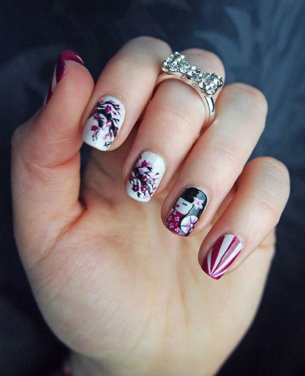 55 Beautiful Japanese Nail Art Designs (23)