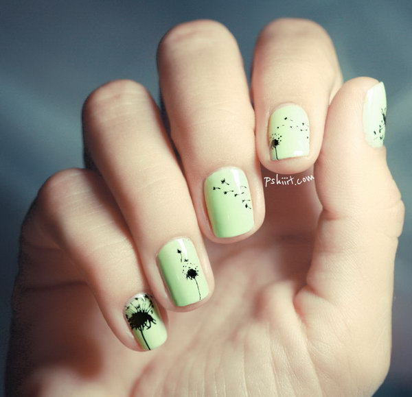 Cute Dandelion Nail Art Designs (12)