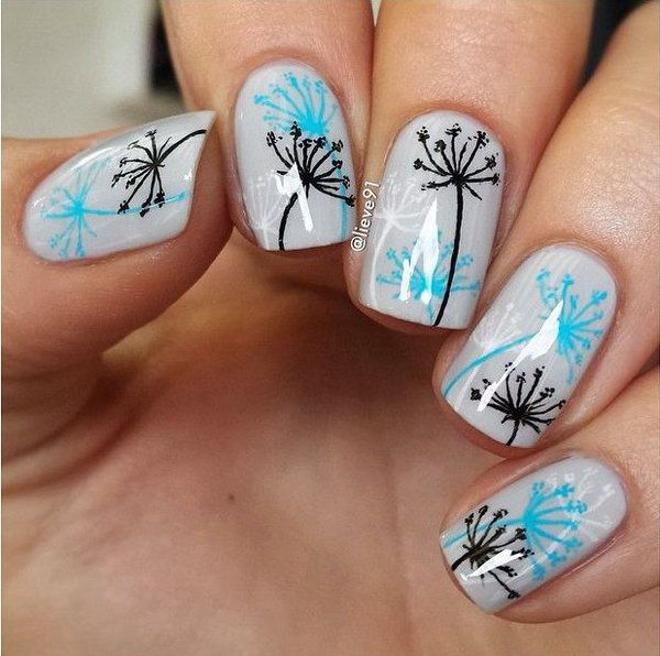 Cute Dandelion Nail Art Designs (15)